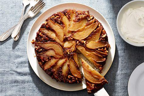 Pear and Walnut Upside-Down Cake