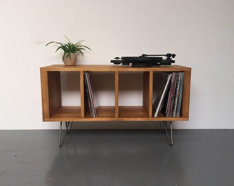 Sonor Petit Tourne Disque Ou Meuble Tv Avec Rangement En Vinyle Sur