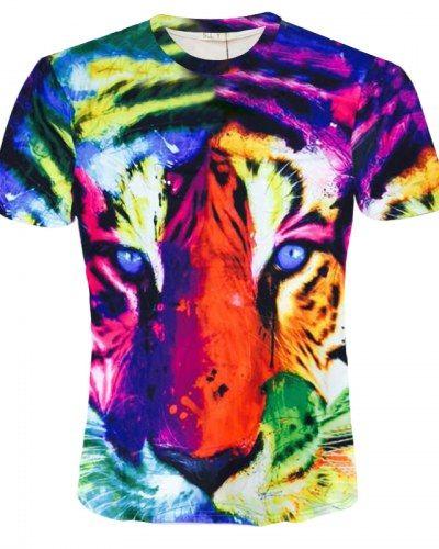 3D Printed T-Shirts Tiger Head Pop Art Style Short Sleeve Tops Tees