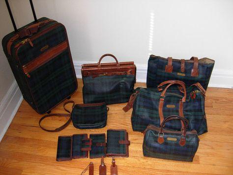 Polo Ralph Lauren Rare Blackwatch Tartan Handbag Luggag Vintage Leather Bag Handbag Polo Ralph Lauren