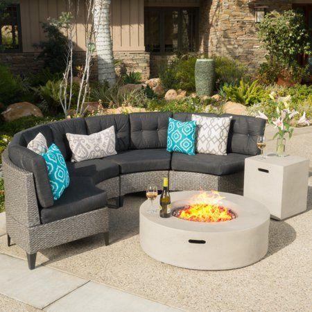 Hampton Outdoor 6 Piece Wicker Half Round Sofa Set With Fire Table