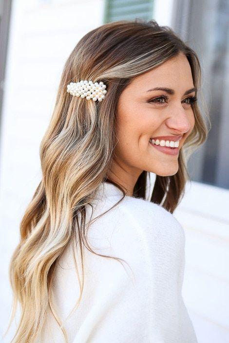 Ivory Pearl Hair Clip Set On Model Clip Hairstyles Hair Styles Hair Clips