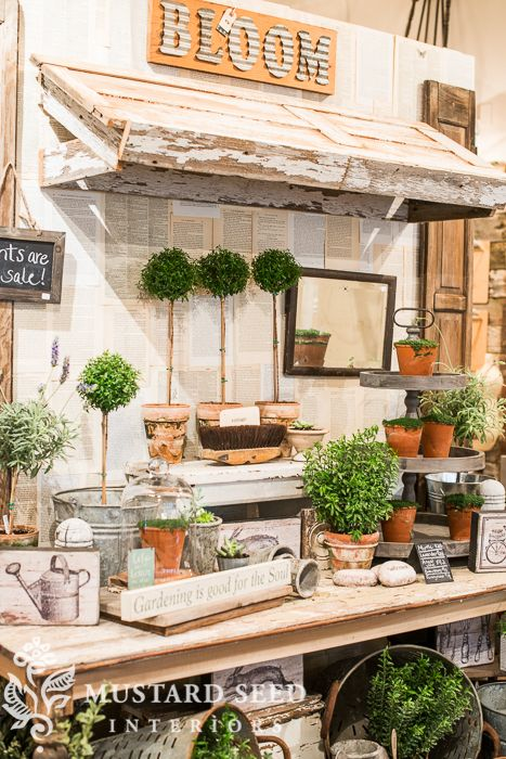 Love this ideas - awning made from door/shutter and trimmed out. Thank you, Wisconsin - Miss Mustard Seed Antique Booth Displays, Antique Booth Ideas, Vintage Display, Vendor Booth Displays, Craft Show Displays, Display Ideas, Shop Displays, Retail Displays, Window Displays