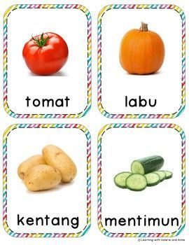 Matching Furits Vegetables Cards English Indonesian Real Pictures To Clipart Flashcards For Kids Indonesian Language Vegetables