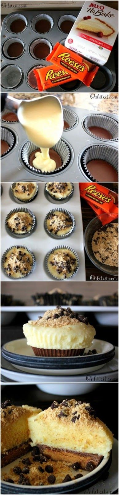 Reese's Bottom Cheesecake Cupcakes 1 Box of JELLO instant NO-Bake Cheesecake Mix Reese's Peanut Butter Cups (one per each Cheesecake) 1 Cup of Mini Chocolate Chips..for sprinkling on top. Approx. 1 Cup of Graham Cracker Crumbs for sprinkling on top.
