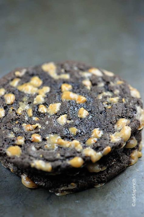 Chocolate Toffee Crunch Cookies Recipe from @addapinch