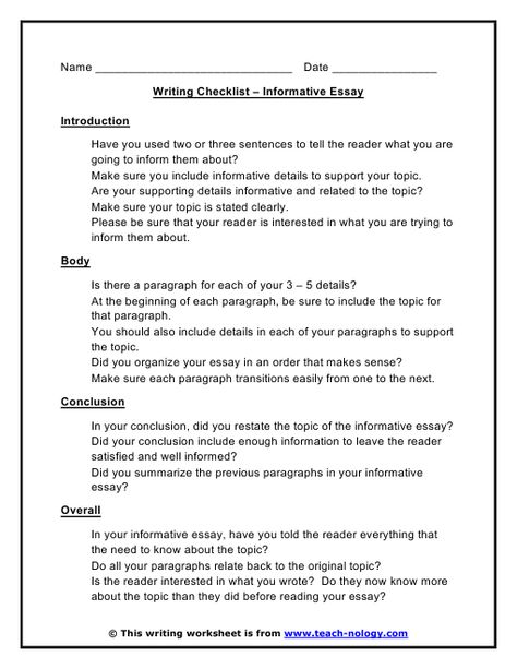 topics for informative essays