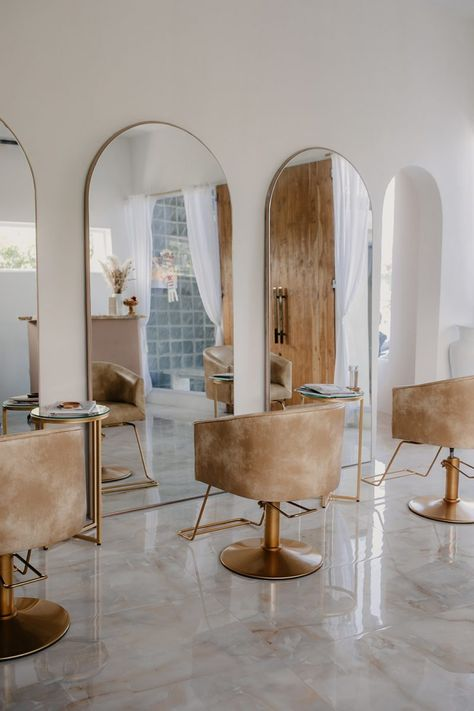 Home Hair Salons, Hair Salon Interior, Home Salon, Salon Interior Design, Art Nouveau Interior, Beauty Room Decor, Beauty Salon Decor, Beauty Salon Design, Spa Room Decor