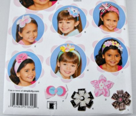 Simplicity 1820 Girls/' Hair Accessories   Sewing Pattern
