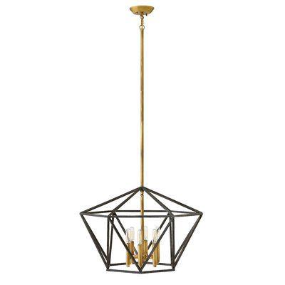 Hinkley Lighting Theory 6 Light Geometric Chandelier Geometric Chandelier Gold Light Fixture Light