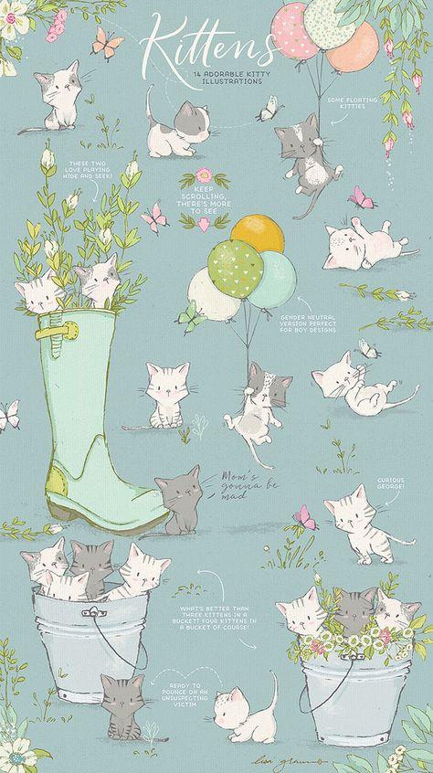 Adorable Spring Kitten Vector Clipart Graphics Lisa Glanz Cute Art Art Cute Drawings
