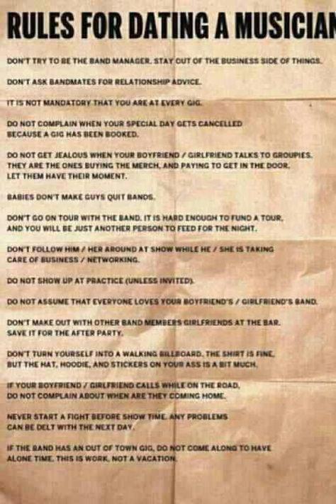 Rules Of Dating A Musician