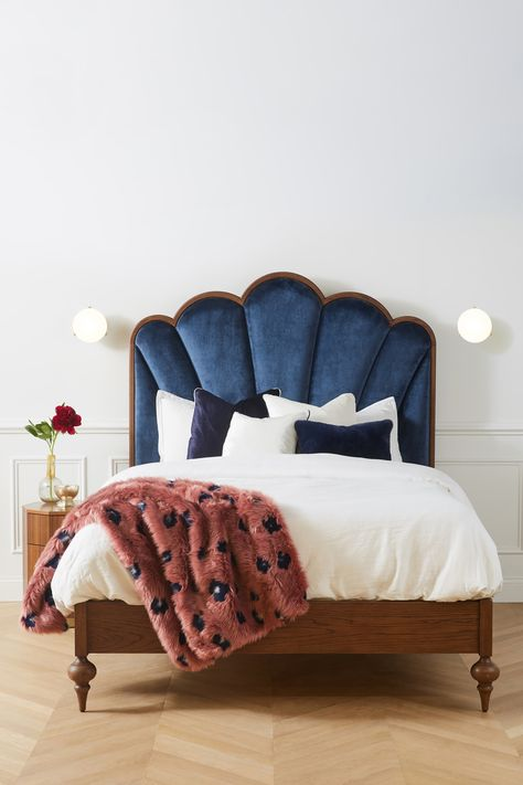 Soho Home x Anthropologie Sofia Bed Crafted from solid oak with artfully turned legs and an Art Deco-inspired headboard upholstered in Blue Headboard, Velvet Headboard, Velvet Bedroom, Picture Headboard, Bed Headboard Design, Headboard Decor, Soho House, Home Bedroom, Bedroom Decor