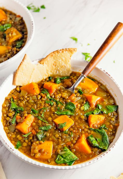 Moroccan Sweet Potato Lentil Stew vegan vegetarian whole food plant based gluten free recipe wfpb healthy oil free no refined sugar no oil refined sugar free dinner side side dish dairy free dinner party entertaining Plant Based Recipes, Veggie Recipes, Indian Food Recipes, Soup Recipes, Whole Food Recipes, Cooking Recipes, Healthy Recipes, Moroccan Recipes, Vegetarian Recipes Delicious