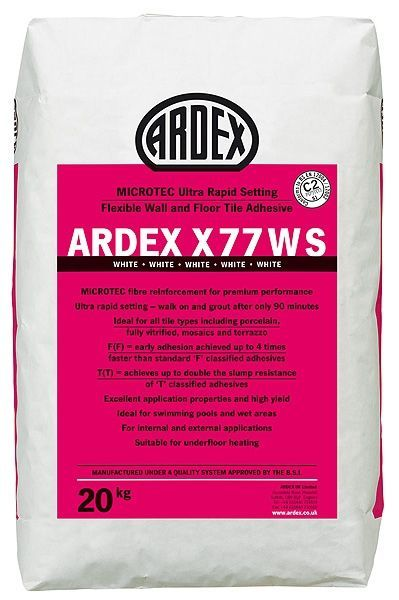 Ardex X77 W S White 20kg Wall Tile Adhesive Adhesive Tiles Natural Stone Wall