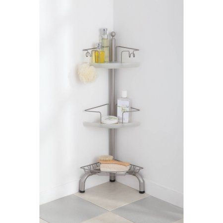 Homezone 3 Tier Adjustable Corner Shower Caddy Satin Nickel