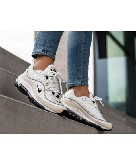 Women's Nike Air Max 98 White Black Fossil Reflect Silver Trainer ...