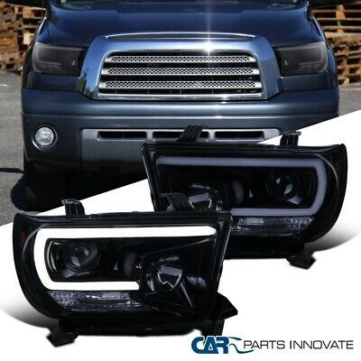 Ad Ebay Glossy Black For Toyota 07 13 Tundra Sequoia Tinted Led Drl Projector Headlights In 2020 Projector Headlights Headlights Tundra