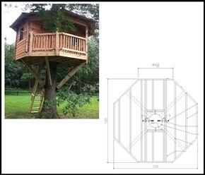 10 Octagon Treehouse Plan Tree House Plans Tree House Tree House Diy