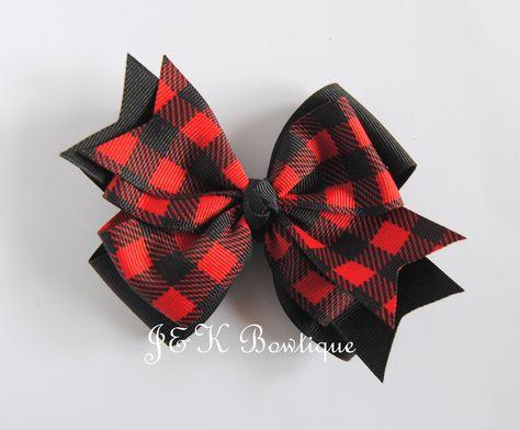 Red and black plaid hair bow, buffalo check hair bow, Buffalo plaid bow, hair bows for girls, hair clip, toddler bows, large bow, big bows