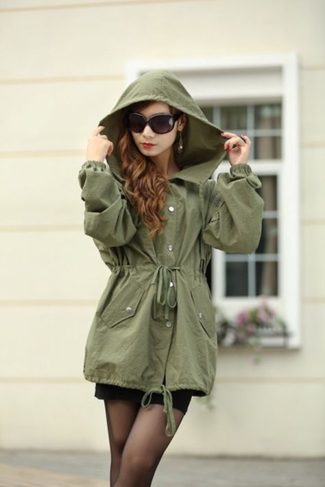 Women's Fashion Embroidery Skull Hooded Waisted Trench Coat