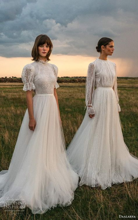 Weddinginspirasi.com featuring - daalarna fall 2020 bridal sleeves boho chic a line ball gown wedding dresses (24) mv -- Your Guide to 2020's Hottest Wedding Dress Trends Part 1 #wedding #weddings #bridal #weddingdress #weddingdresses #bride #fashion #2020trends #trends #week:012020 #year:2020 ~