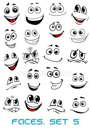Dibujos Animados De Caras Con Diferentes Expresiones