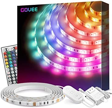 Amazon Com Led Strip Lights Govee 16 4ft Waterproof Rgb Light Strip Kits With Remote For Room Bedroom In 2020 Led Strip Lighting Strip Lighting Color Changing Led