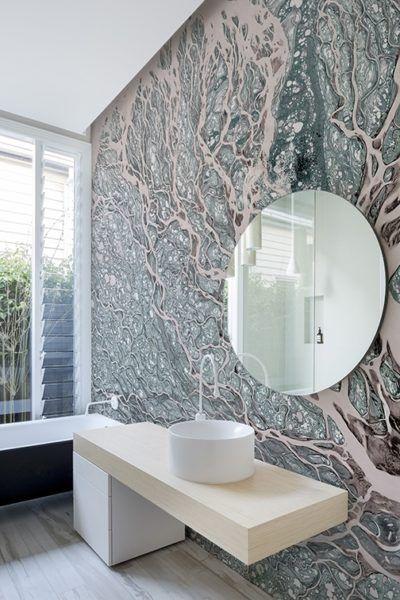 Badezimmer Renovieren Mit Tapete Und Ohne Fliesen Deko Wand