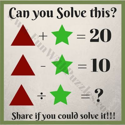 Kids Math Equations Riddles With Answers Math For Kids Math