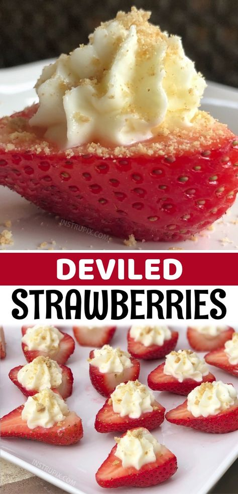 These Deviled Strawberries won't last more than 5 minutes! They're a hit at any party or family gathering. They make for the best cold make ahead finger food treats (served as an appetizer or dessert). A fun and yummy idea for any occassion! Birthdays, 4th of July parties, BBQ's, potlucks, game day, girls night in or even Christmas. Everyone will be begging you for the recipe, and they are super easy to make with just a few ingredients. They look so pretty on the appetizer or dessert table!