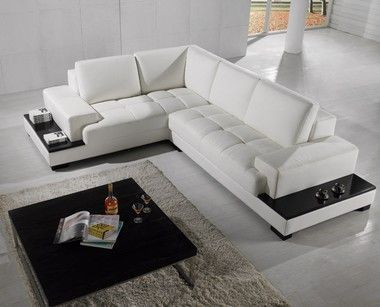 Modern Wooden Legs White Tufted Leather Sectional Sofa With End Tables White Leather Sofas Modern Sofa Sectional Leather Corner Sofa