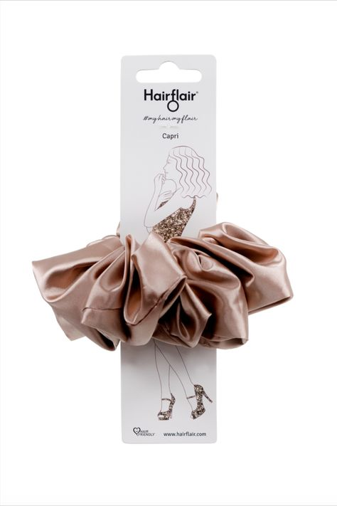 NEW IN! Our Capri Super Scrunchy is here!! This beautifully designed, champagne coloured, super scrunchy (like all our scruchies) is made with the finest fabrics around.   Priced at £9.95 | $12.99 | €11.95 per item   Shop HairFlair.com NOW!