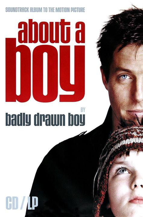 An original litho-printed film poster for About a boy with soundtrack by Badly Drawn Boy A comedy-drama starring Hugh Grant as Will, a rich, child-free and irresponsible Londoner in his thirties who, in search of available women, invents an imaginary son and starts attending single parent meetings. As a result of one of his liaisons, he meets Marcus, an odd 12-year-old boy with problems at school. Gradually, Will and Marcus become friends, and as Will teaches Marcus how to be a cool kid, Marcus