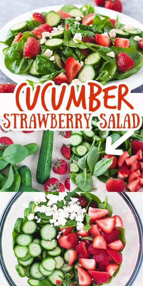 Enjoy the fresh flavors of Summer in this delicious Cucumber Strawberry Salad with homemade balsamic Dijon dressing. Baby spinach, baby cucumbers, fresh mint, feta cheese and strawberries are tossed together in this light and healthy salad recipe.