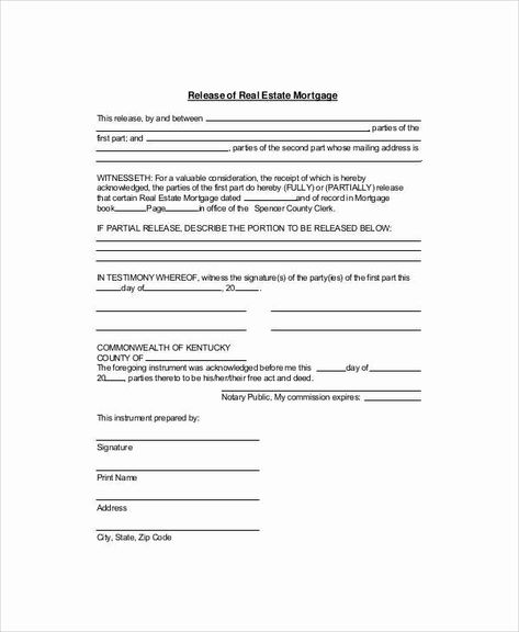 Logo Release Form Template Lovely 7 Sample Mortgage Release Forms