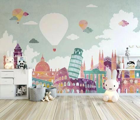 Kids Wallpaper Historical Places Wall Mural Hot Air Balloon Wall Art Girls Boys Bedroom Childroom Wa Kidsbedroo Kids Wallpaper Kid Room Decor Kids Room Design