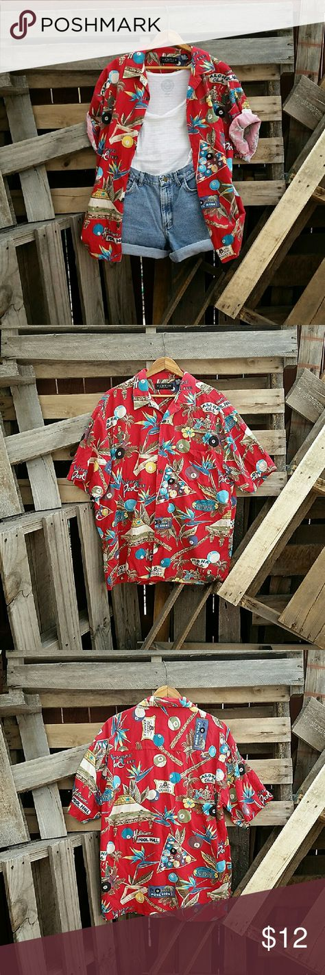 Vintage '90s Medium Stoner Grunge Hawaiian Shirt This vintage hawaiian shirt is straight out of the 90s and perfect for layering with graphic tees to nail the grunge look! Good quality, no stains, holes, or tears. Handpicked with love from the base of the Rockies <3 Material: Cotton Size: Men's Medium Cactus Tops Button Down Shirts