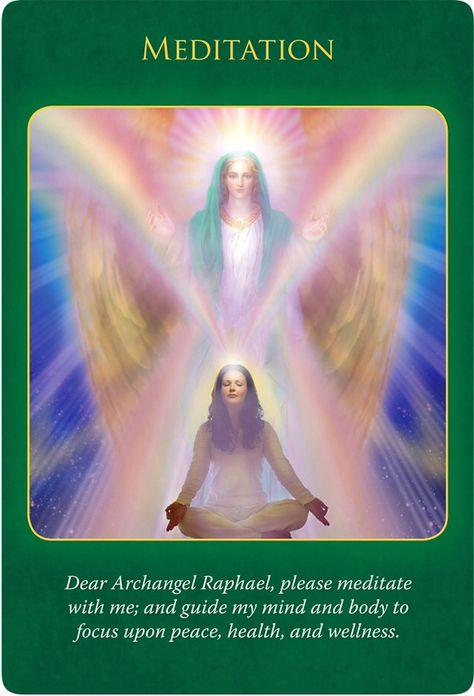 Meditation from the Archangel Raphael Oracle Cards. Doreen Virtue, Spiritual Guidance, Spiritual Awakening, Romance, Reiki, Angel Protector, Angel Guide, Angel Prayers, I Believe In Angels