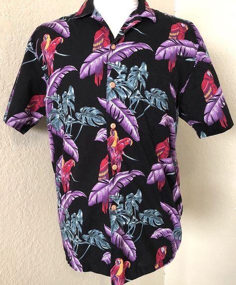 fe0f4088 Paradise Found Hawaiian Shirt Magnum PI Jungle Bird Mens Medium # ParadiseFound #ButtonFront