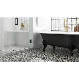 Della Torre Cementina Black And White 8 In X 8 In Glazed Ceramic Encaustic Tile Lowes Com Ceramic Floor Ceramic Floor Tile Black And White Tiles