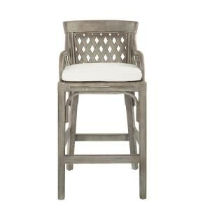 Stylewell Stylewell Black Metal Bar Stool With Back And Natural Seat 21 42 In W X 38 25 In H St1811035 Nblk The Home Depot In 2020 Bar Stools Grey Bar Stools Counter Stools
