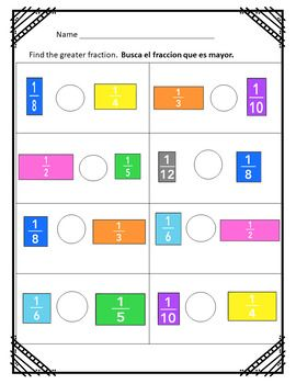 Bilingual English Spanish Fractions Worksheets Fractions Worksheets Bilingual Math Fractions