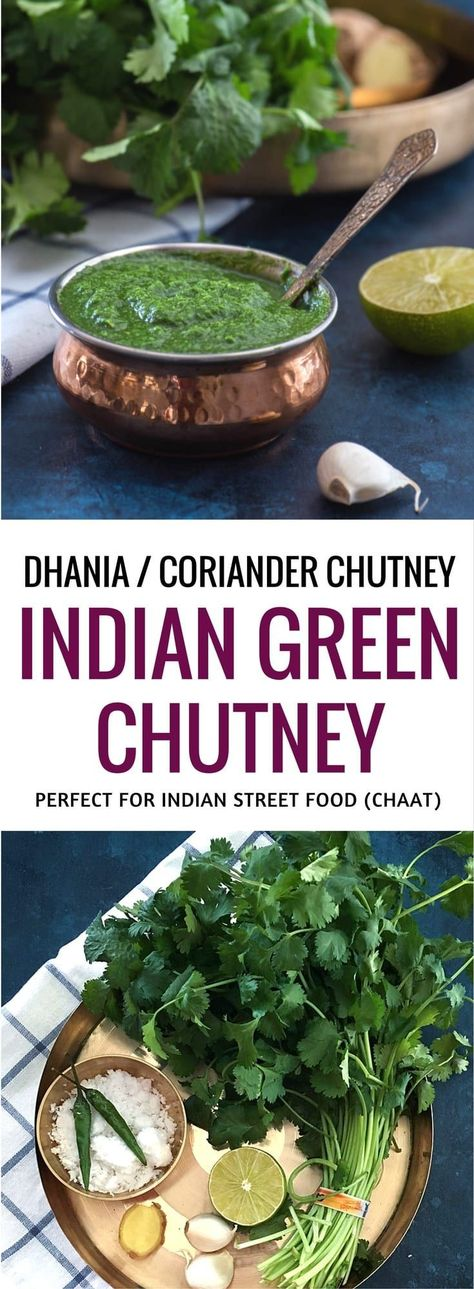 Chutney Green chutney recipe for Indian street food (chaat) - Learn how to make this simple and flavorful coriander or cilantro chutney and master the secret recipe that makes most Indian street food so finger-licking good. via chutney recipe for In. Green Chutney Recipe, Cilantro Chutney, Coriander Cilantro, Coriander Chutney Recipe, Indian Food Recipes, Asian Recipes, Vegetarian Recipes, Cooking Recipes, Indian Chutney Recipes
