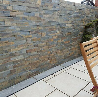 Rustic Copper Split Face Wall Cladding Z Cladd Indian Stone Paving Patio Home Wall Cladding Patio Stones Stone Walls Garden