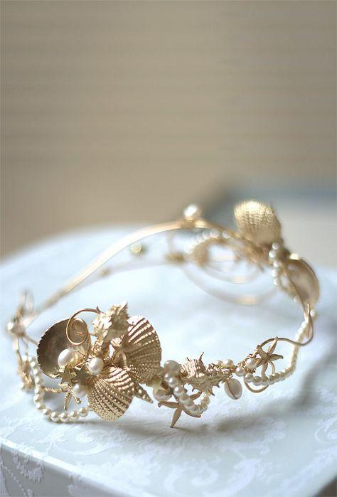 WEDDING HEADBAND Bridal seashell crown by HAIRBOWSWONDERWORLD on Etsy - like this but silver