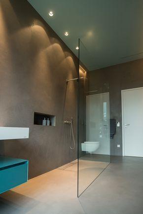 Beton-Imitation auch im Nass-Bereich Ob Wand oder Boden, kein - badezimmer mit schräge