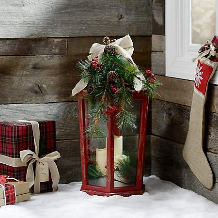 Christmas Floral Red Led Lantern Christmas Lanterns Christmas Decorations Outdoor Christmas Decorations