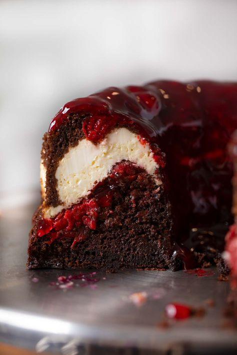 Cherry Chocolate Cream Cheese Bundt Cake - Dinner, then Dessert