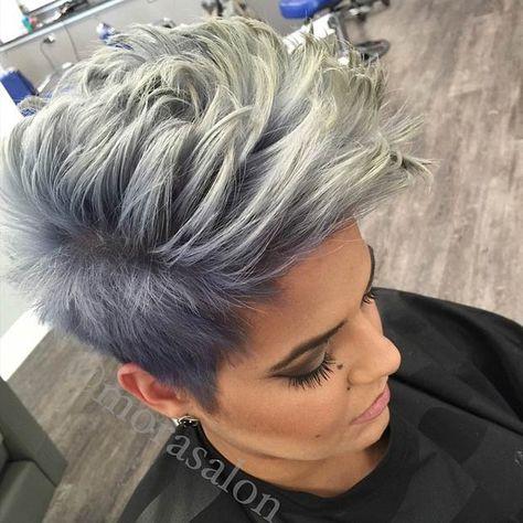 Ice Grey & Blue Spiky Faux hawk Haircut
